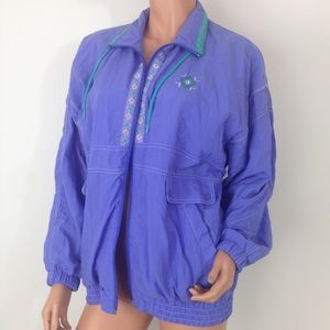 Vtg purple color block windbreaker jacket nylon